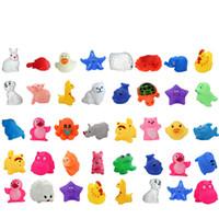 Schöne gemischte Tiere Wasser Spielzeug bunte weiche Gummi Float Squeeze Sound quietschende Badespielzeug für Baby Kinder