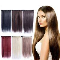 Pedaço de cabelo em linha reta crurly super longo cinco clipe em extensões de cabelo sintético cabelo encaracolado grosso 1 peça para a cabeça cheia FZP3