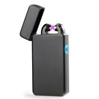 Nuevo Doble ARC Encendedor USB Eléctrico Plasma Recargable A Prueba de Viento Pulso Sin Llama encendedor de carga de colores encendedores usb Epacket