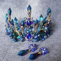 خمر الزفاف العرسان الباروك الأزرق حجر الراين كريستال ولي تيارا العصابة حلق مجموعة مجوهرات فاخرة الأميرة اكسسوارات للشعر