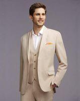 베이지 남성은 간단한 웨딩 정장 의상 옴므 맞춤 제작 신랑 들러리 3Piece 슬림핏 정장 재킷 댄스 파티 턱시도 최고의 남자 정장