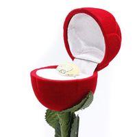caixa de jóias de casamento Velvet caixas de Rose Shaped Cases para os anéis de exibição anel de caixa Mini vermelho bonito Carrying