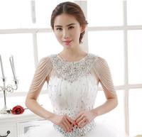 Giacca da sposa in pizzo di cristallo di cristallo lussuoso Giacca da sposa in pizzo bianco Giacca da sposa Bolero Giacca abito da sposa con perline
