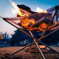 2018 Sıcak Kış Açık Yangın Yanık Çukur Standı Taşınabilir Katı Yakıt Rafı Katlanır Soba Yangın Çerçeve Hızlı Isıtma Ahşap Kömür Soba Kamp Aracı