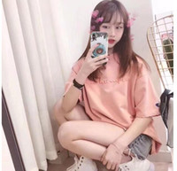 Luxury Europe Fashion 2019 Summer New Peach Powder Camiseta para mujer Camiseta de manga corta Camiseta con letra de calle Camiseta casual