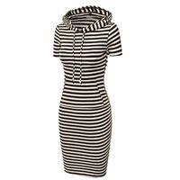 Moda Kadın Çizgili Kapüşonlu Hoodie Kapüşonlu Kapüşonlu Bahar Sonbahar Giyim Bodycon Yumuşak Esneklik Casual Kalem Elbise MT1332