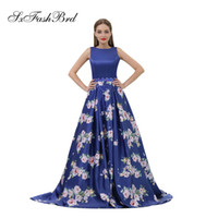Simple O Neck Open Back A Line Blue Print Satin Long Party F...