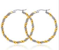 Новая линия твист большие серьги новые модные из нержавеющей стали / позолоченные ювелирные изделия круглый большой размер Хооп серьги для женщин