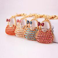 السيدات حقيبة يد على شكل سلسلة المفاتيح - 4 ألوان الكريستال حجر الراين الفاخرة الحلي تألق المرأة حقيبة سحر قلادة سيارة كيرينغ