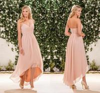 Blush rose mousseline de mousseline de soie rose robes de demoiselle d'honneur haute 2020 billets de halter plis back fermefer longe plage de jardin de jardin de jardin d'honneur robes