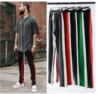 2018 Men Side Stripe Bottom Zipper coulisse Pantaloni sportivi High Streetwear Jogger Uomini Patchwork Elastico in vita Pantaloni Track