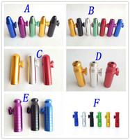 Bullet de tuyau en aluminium de tuyauterie en forme de fusée en forme de textueuse Snorter Snorter Distributeur Nasal pour cigarettes de tabac Tuyaux de tabagisme Tuyaux 6 styles