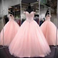 2018 Pink Ball Gown Quinceanera Dresses Spaghetti Straps Off...