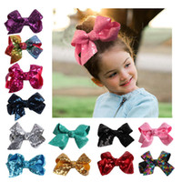 Jojo bow Barrettes child sequin bow colorful accessories gir...