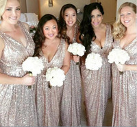 Custom Long Bridesmaid Dresses V- neck Sleeveless Champagne S...
