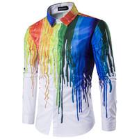 Helisopus Camisa de hombre con tinta impresa Pintado manga larga Pintado grafismo Streetwear camisas hombres pintura batik chino camisas