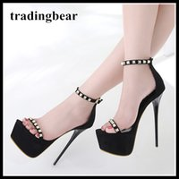 16cm Rivets Ankle Strappy Platform Shoes Designer High Heels...