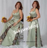 Camo Satin Mutter der Braut-Bräutigam-Kleider A-Linie O-Ausschnitt Plissee Patin-Kleid-formale Kleid-Abend plus Größe Bridemaid Kleid