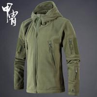 Chaqueta de lana táctica militar regular Hombres Us Army Polartec Windbreaker Ropa Hombre Multi bolsillos Prendas de abrigo Abrigo con capucha para hombres