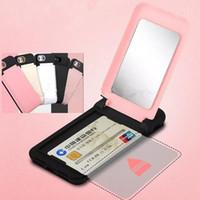 Flip Mirror Titulaire de la carte de crédit Couverture De Cas Pour iPhone X 8 7 6 Plus Dur PC + TPC Filles Miroir Cosmétique Cas