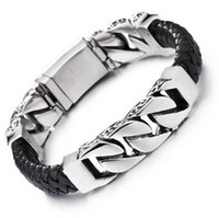 Hot Brand Punk Cool Men' s Curb Bracelets Weaved Leather...