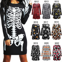 Halloween Pumpkin Skull Dress Women Girls maniche lunghe Chrismas Bodycon Skull Skeleton Spring Cosplay Party eleganti mini abiti