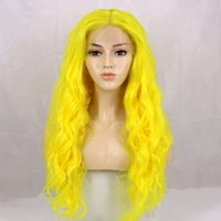 Hot Sexy Cosplay Yellow Color Long Curly Wavy Lace Front Wig...