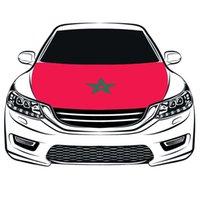 The World Cup Football Das Königreich Marokko Flag Car Hood Cover 3.3X5FT 100% Polyester, Motorflagge, elastische Stoffe können gewaschen werden