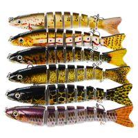Pêche en eau salée Swimbaits basse scintillement appât 12cm 19g 10colors 3D Eyes 8 Segments Rattlin Crankbaits Lure