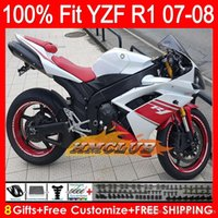 Catériel d'injection + phare de Yamaha YZF1000 YZFR1 07 08 Rouge Blanc YZF 1000 37HM0 YZF-R1 07-08 YZF-1000 YZF R 1 YZF R1 2007 Kit rouge