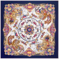 écharpe en soie femmes châle automne et hiver nouveau 130cm * 130cm en sergé lourd Carousel Mme grandes écharpes foulard carré