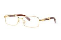 Francia diseñador full metal marco llano gafas madera piernas búfalo cuerno gafas para hombres lunettes de soleil madera talla de bambú marcos de gafas