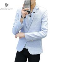 Zeeshant 2018 Yeni Marka Bahar Erkek Çizgili Blazer Casual Erkek Ceket Slim Fit Kore Moda Artı boyutu XXXL Blazers