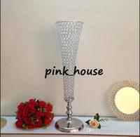 Zarif Yeni Sıcak Satış Tall Düğün Kristal Centerpiece Vazo Kristal Vazolar Çiçek Standı için Düğün Masa Dekorasyon Centerpieces