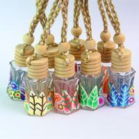 Лучшая цена висит веревка полимерной глины пустые бутылки 12-15 мл эфирное масло духи бутылки WithWooden крышки автомобиля диффузор бутылки