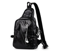 Men PU Casual Classic Black Crossbody Bag With headphone jac...
