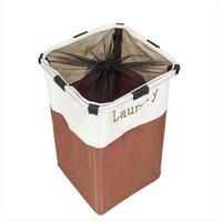 2019 Canasta portátil de lavandería con enrejado individual Cestas de almacenamiento blancas y marrones Organización de almacenamiento en el hogar Cesta de lavandería