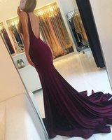 2018 New Günstige Maroon Mermaid Prom Dresses Scoop Sleeveless Elastischer Satin Nach Maß Lange Sexy Backless Abendkleider