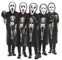 I bambini vestiti di scheletro del cranio del fantasma + Skull Devil Maschera Guanti Cosplay Costume Uomo Donna Bambini di Halloween di travestimento di carnevale
