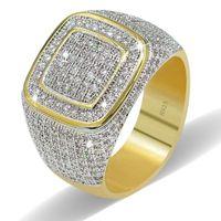 Los hombres de lujo anillo de la boda anillo de oro amarillo lleno blanco Cubic Zirconia joyería de moda regalo para la fiesta de compromiso Size8-13 envío gratis