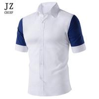 JZ CHIEF رجل ثوب قميص يتأهل قصير كم المرقعة ضرب اللون الاجتماعية عارضة قميص الرجال 2018 ملابس الصيف زر أسفل