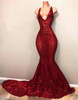 Mermaid Red Pailletten Abendkleider 2020 V-Ausschnitt ärmellos langer Zug-reizvolle Abend-Kleider Vestidos De Fiesta