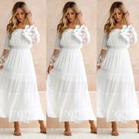 여름 흰 레이스 드레스 Sundress 긴 여성 비치 드레스 여자 Strapless 긴 소매 느슨한 섹시한 숄더 레이스 Boho 맥시 드레스