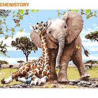 CHENISTORY Frameless Elephant Giraff Pittura fai da te con i numeri Modern Wall Art Paint by Numbers Unque Gift For Home Decor