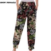 KAR PINNACLE Kadınlar Harem Pantolon Yaz Elastik Bel Gevşek Renkli Çiçek Baskı Ayak Bileği uzunlukta pantolon pantolon 50-80 kg 22 renkler