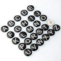 26 İngilizce Harfler Stil Noosa Yapış Takı Ayı's-Paw DIY Cam Düğmeler Yapış Fit 18mm Yapış Bilezikler Bileklik