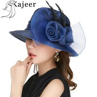Kajeer Blue Color Yarn Hats For Women Big Bow Feather Flower...