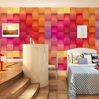 mosaic modern 3d square wallpaper photo wallpaper roll red c...