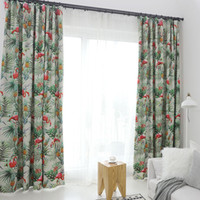 Green Tropical Leaves Flamingos Blackout Printed Curtain for...