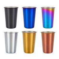 500 ملليلتر 304 المقاوم للصدأ أكواب القهوة reusable بهلوان باينت التخييم السفر القدح شرب عصير الشاي البيرة أكواب QW8935